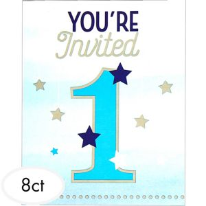 Blue Twinkle Twinkle Little Star 1st Birthday Invitations 8ct