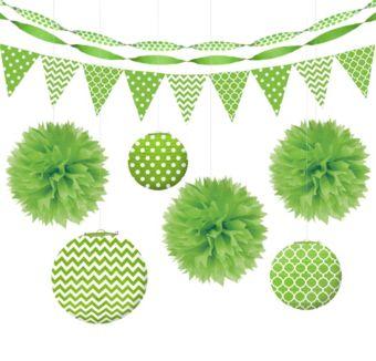 Kiwi Green Polka Dot & Chevron Decorating Kit