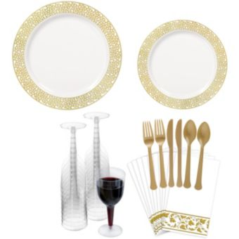 Premium White Gold Lace Border Tableware Kit for 20 Guests