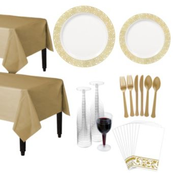 Premium White Gold Lace Border Deluxe Tableware Kit for 20 Guests