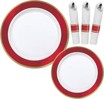 Premium Gold & Red Border Tableware Kit for 20 Guests