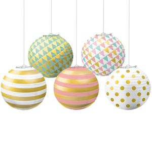 Mini Pastel & Gold Paper Lanterns 5ct