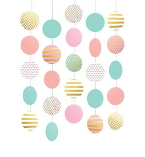 Pastel & Gold String Decorations 5ct