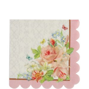 Floral Tea Party Scalloped Lunch Napkins 16ct