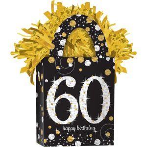 Prismatic 60th Birthday Balloon Weight - Sparkling Celebration