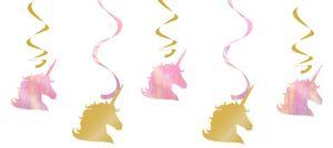 Sparkling Unicorn Swirl Decorations 5ct