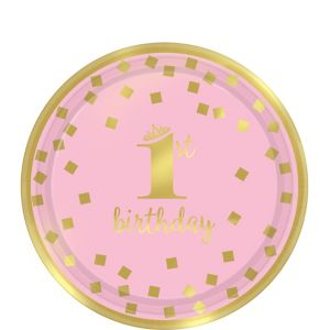 Metallic Pink & Gold Confetti 1st Birthday Dessert Plates 8ct