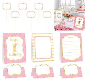 Metallic Pink & Gold 1st Birthday Buffet Decorating Kit 12pc