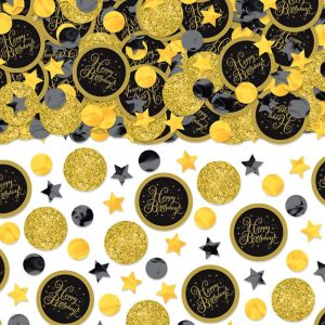 Black & Gold Birthday Confetti