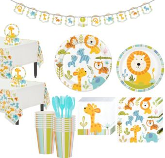 Happy Jungle Lion Premium Baby Shower Tableware Kit for 16 Guests