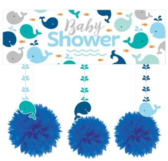 Blue Baby Whale Decorations Shower Kit