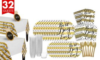 Metallic Best Day Ever Wedding Bridal Shower Tableware Kit for 32 Guests