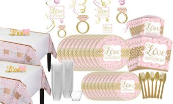 Sparkling Pink Wedding Bridal Shower Tableware Kit for 32 Guests