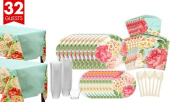 Blissful Blooms Bridal Shower Tableware Kit for 36 Guests