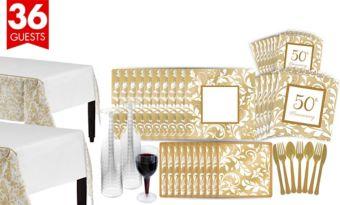 Golden Wedding Bridal Shower Tableware Kit for 36 Guests