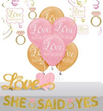 Pink Sparkling Celebration Bridal Shower Decorating Kit with Balloons