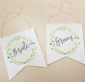 Botanical Canvas Bride & Groom Chair Signs 2ct