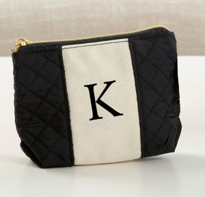 Black & White Monogram K Makeup Bag