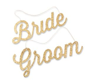 Glitter Gold Bride & Groom Chair Signs 2ct