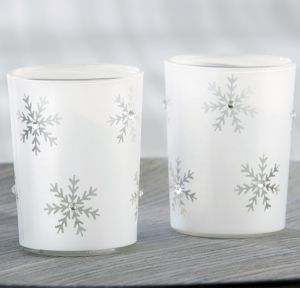 Sparkling Snowflake Tealight Candle Holders 4ct