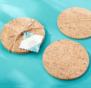 Tropical Chic Gold Cork Coasters 2ct