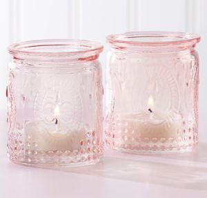 Vintage Pink Tealight Candle Holders 4ct