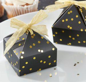 Black & Gold Dot Pyramid Favor Boxes 24ct