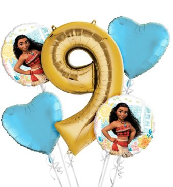 Moana 9th Birthday Balloon Bouquet 5pc