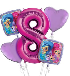 Shimmer and Shine 8th Birthday Balloon Bouquet 5pc