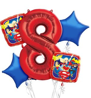 DC Super Hero Girls 8th Birthday Balloon Bouquet 5pc