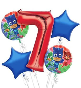 PJ Masks 7th Birthday Balloon Bouquet 5pc