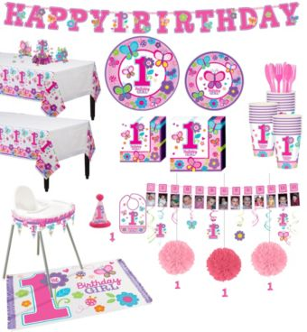 Sweet Girl 1st Birthday Deluxe Party Kit for 38 Guests