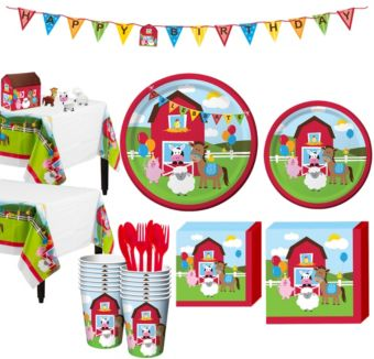 Farmhouse Fun 1st Birthday Party Kit for 16 Guests