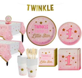 Pink Twinkle Twinkle Little Star 1st Birthday Party Kit for 16 Guests