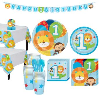 Blue One is Fun 1st Birthday Party Kit for 32 Guests