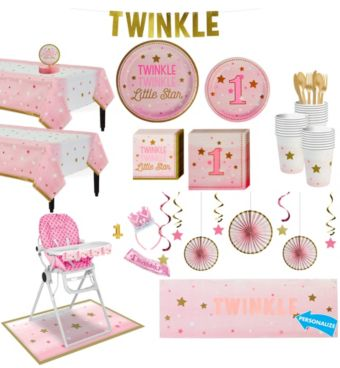 Pink Twinkle Twinkle Little Star 1st Birthday Deluxe Party Kit for 32 Guests