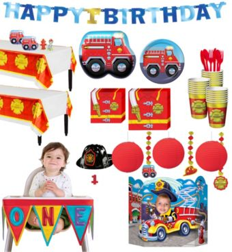 Firefighter 1st Birthday Deluxe Party Kit for 32 Guests