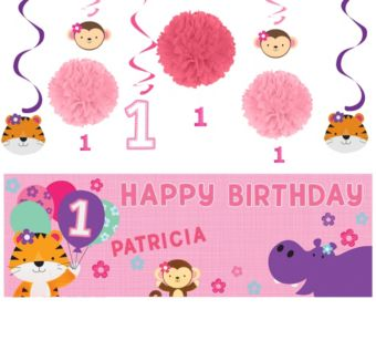 Pink One is Fun 1st Birthday Decorating Kit