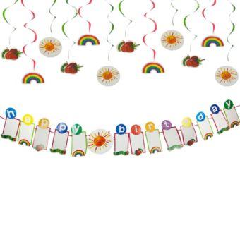Rainbow Hot Air Balloon 1st Birthday Decorating Kit