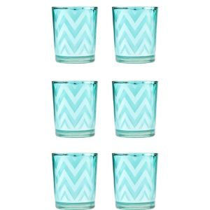 Teal Chevron Votive Candle Holders 6ct