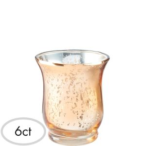 Rose Gold Hurricane Mercury Glass Votive Candle Holders 6ct