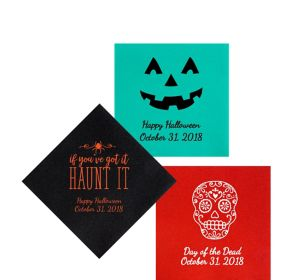 Personalized Halloween Premium Beverage Napkins