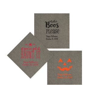 Personalized Halloween Tweed Print Beverage Napkins