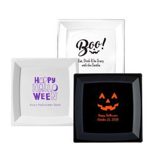 Personalized Halloween Premium Plastic Square Dinner Plates