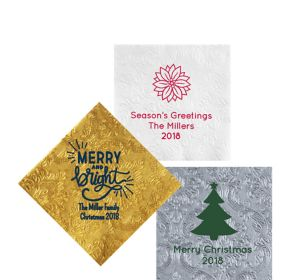 Personalized Christmas Embossed Damask Beverage Napkins