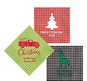 Personalized Christmas Gingham Lunch Napkins