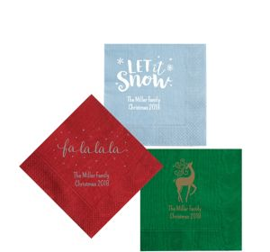 Personalized Christmas Moire Beverage Napkins