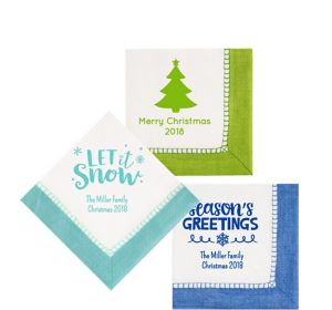 Personalized Christmas Bordered Beverage Napkins