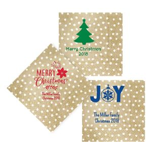 Personalized Christmas Small Dots Lunch Napkins