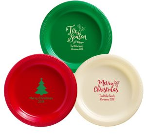 Personalized Christmas Plastic Dinner Plates